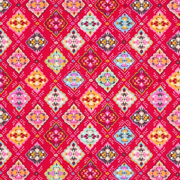 Baumwollstoff Cretonne Rauten-Ornament – pink