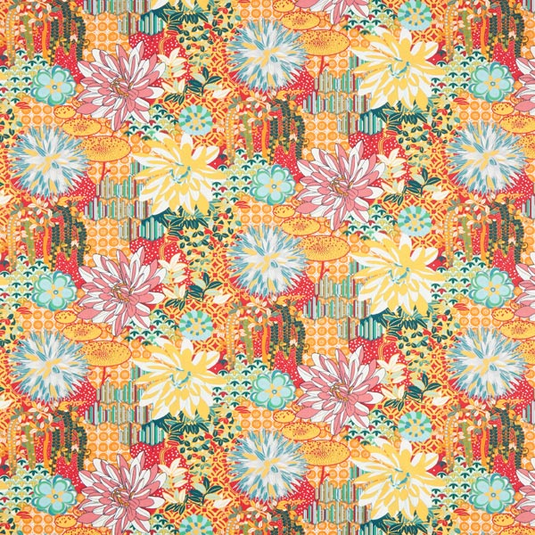Baumwollstoff Cretonne Blumen-Collage- bunt