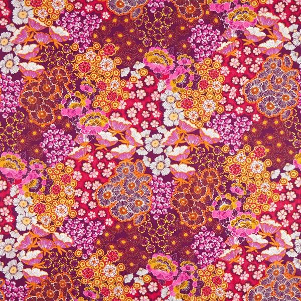 Baumwollstoff Cretonne Asiatische Blumen – rot