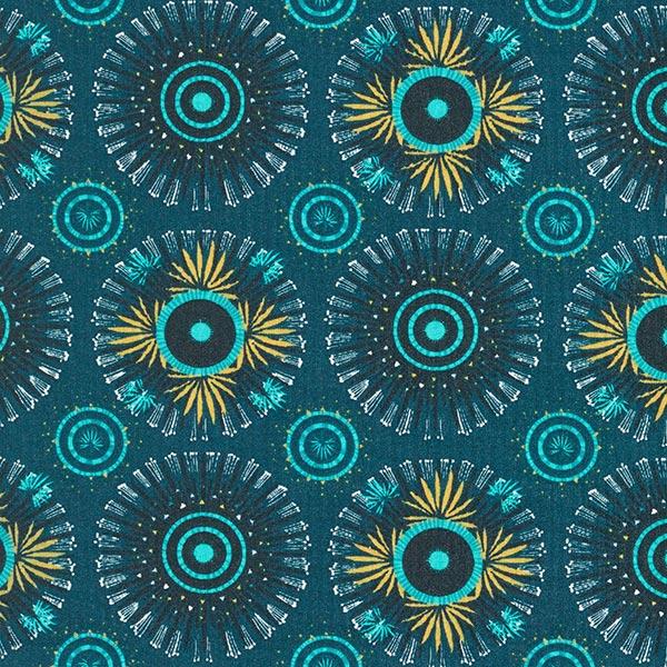 Beschichtete Baumwolle Mandala – petrol