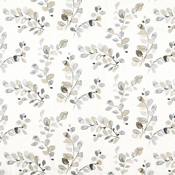 Lin de décoration Rinceaux de feuilles – gris