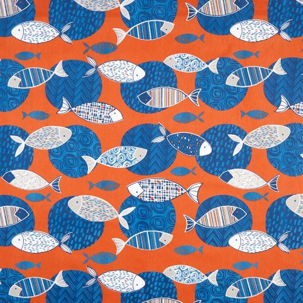 Dekostoff Baumwollköper Fische – terracotta