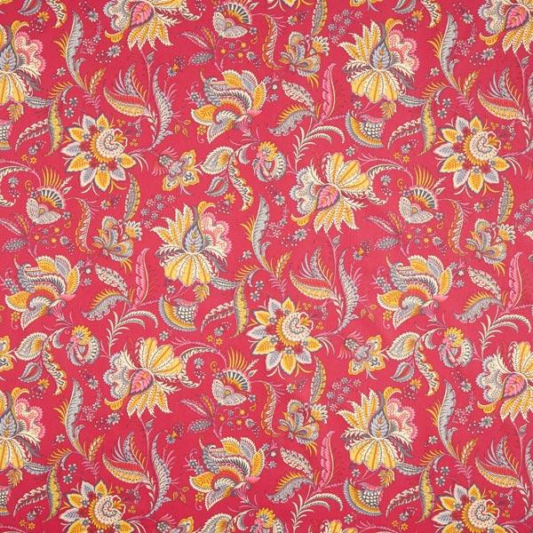 Dekostoff Baumwollköper Blumen Paisley – rot