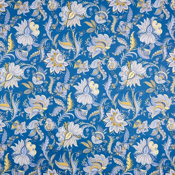 Dekostoff Baumwollköper Blumen Paisley – blau