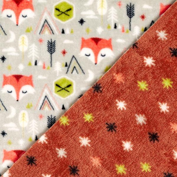 Wellnessfleece Doubleface Fuchs – hellgrau/rostrot