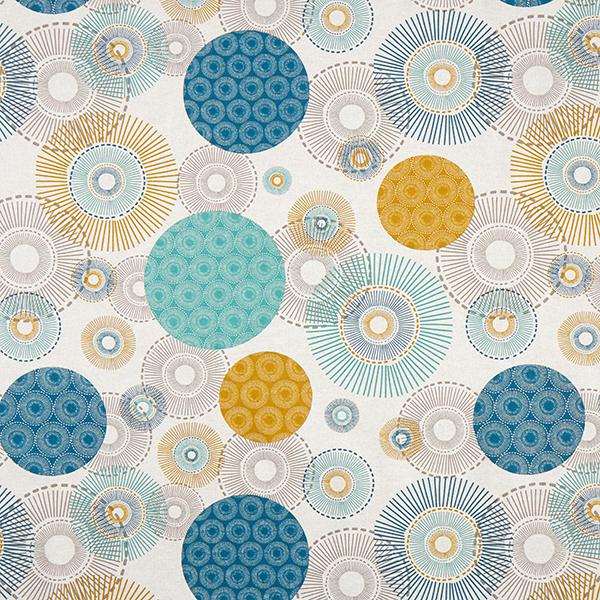 Tissu de décoration Semi-panama Cercles – bleu