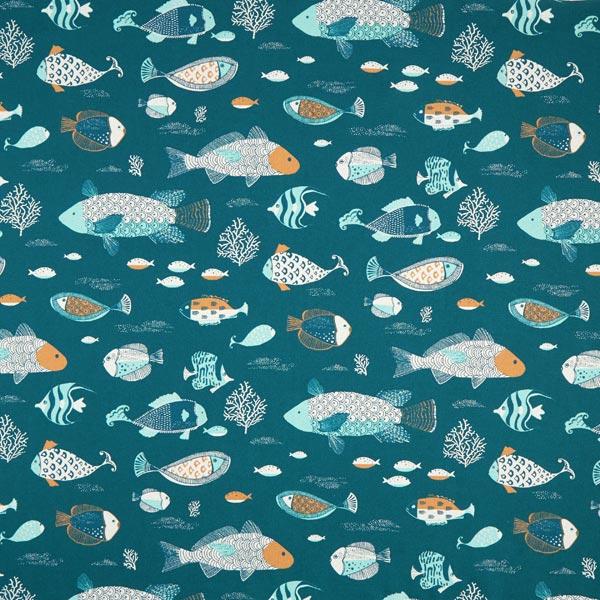 Dekostoff Halbpanama Fische – petrol