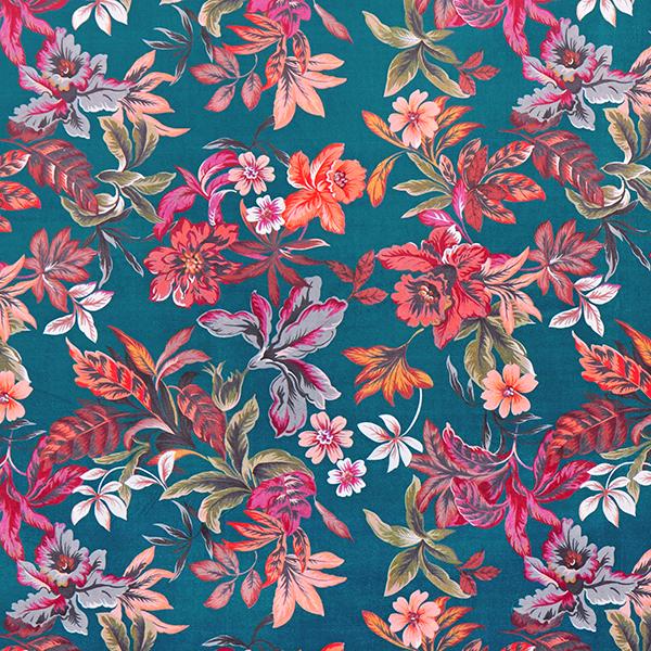 Velours de décoration Floral – pétrole