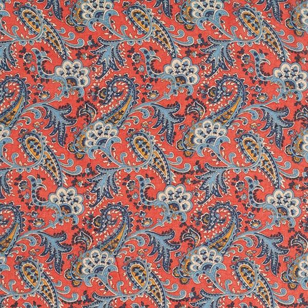 Chiffon Paisley-Muster – rostrot/blau