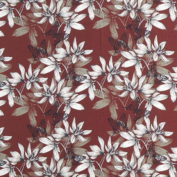 Georgette Schmetterlinge & Lilien – rostrot