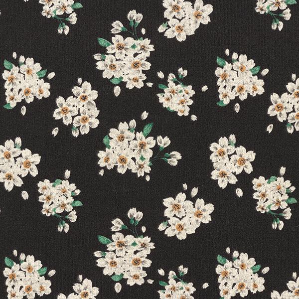Tissu maille fine fleurs – noir