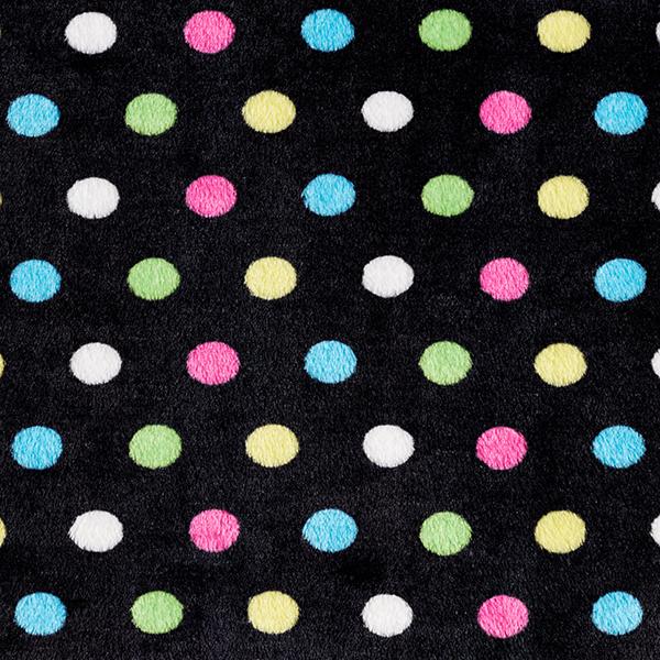 Polaire douillet points de couleur 2 cm – noir