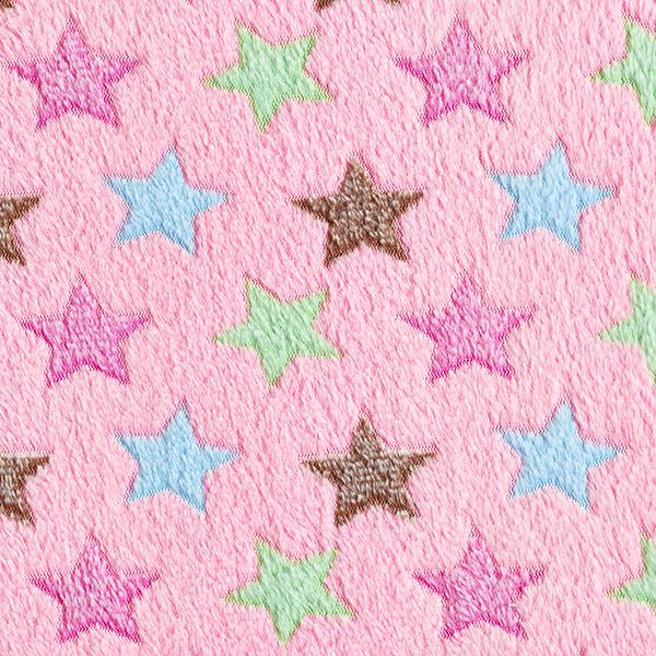 Kuschelfleece bunte Sterne – rosa