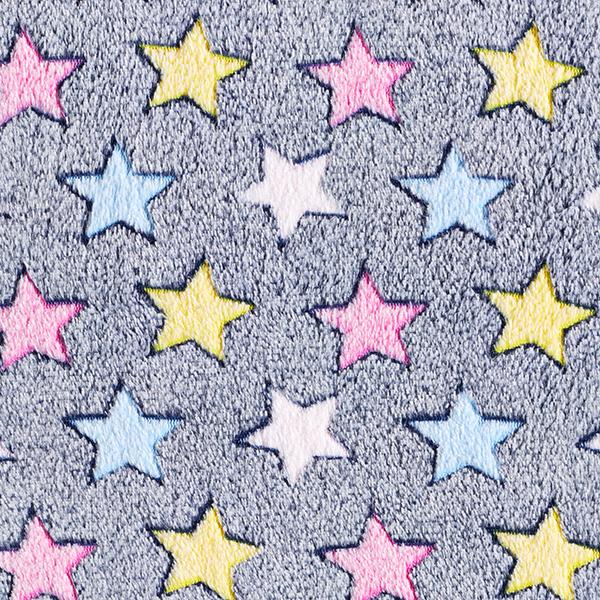 Kuschelfleece bunte Sterne – marineblau