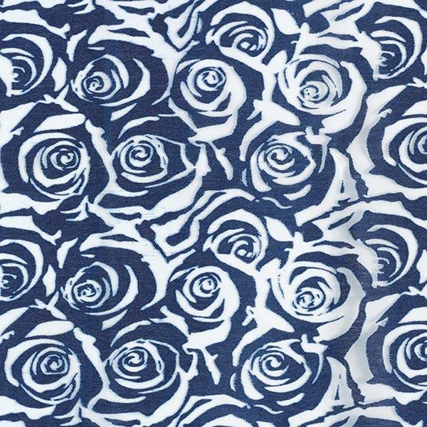 Tüllstoff Rosen Jeanslook – blau