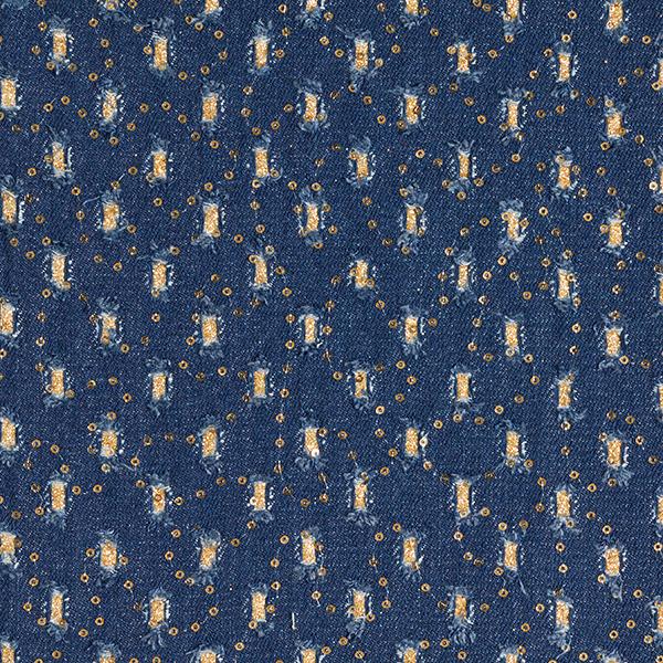 Baumwollköper Destroyed-Look mit Paillettenstickerei – blau/gold