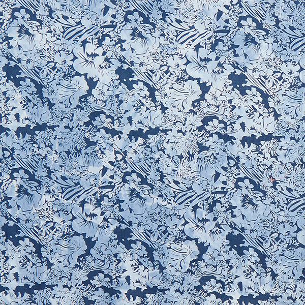 Chambray Batik Hawaiiblumen – blau