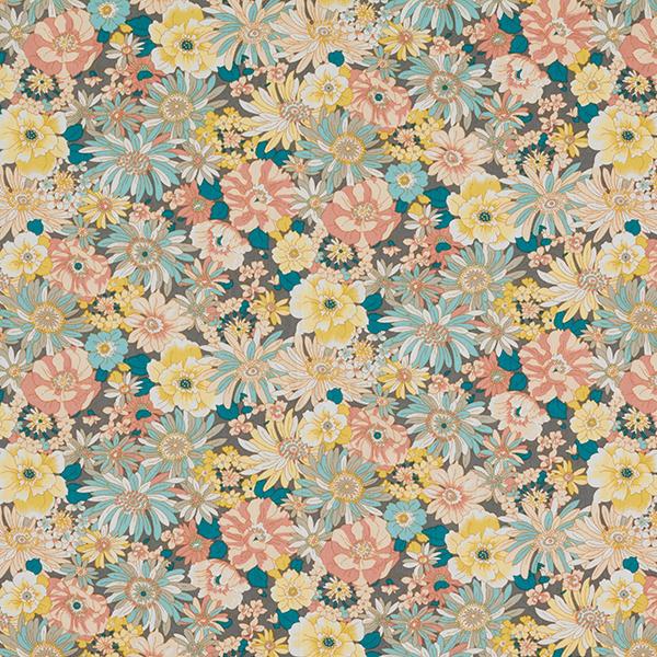 Blusenstoff Baumwollpopeline Blütenpracht – grau/lachs