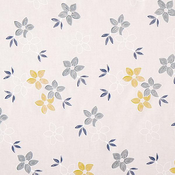 Tissu pour chemisier Aspect lin Aspect broderie de fleurs – nature/kaki