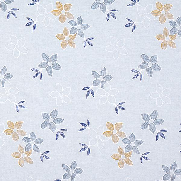Tissu pour chemisier Aspect lin Aspect broderie de fleurs – bleu clair