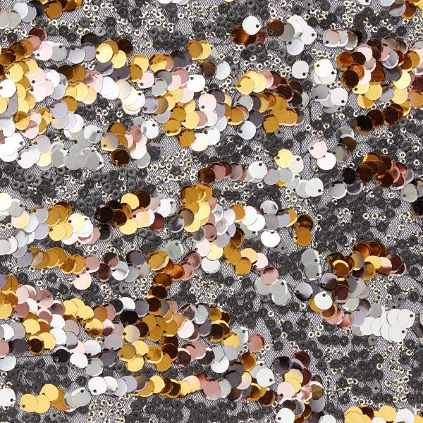 Tüllspitze Pailletten Traum – silber/gold