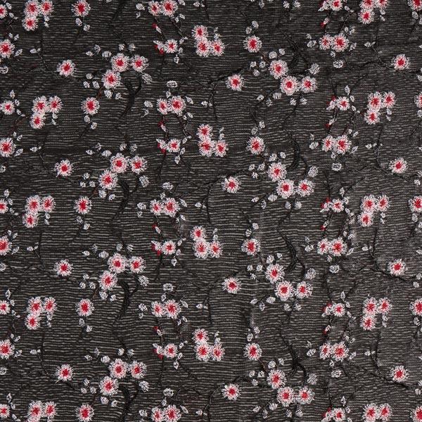 Tissu à paillettes Aigrettes de pissenlit Brodé – noir