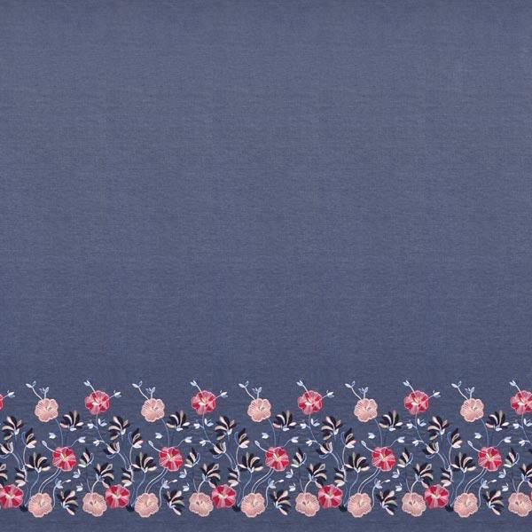 Jeansstoff Chambray einseitige bestickte Blumen-Bordüre – jeansblau