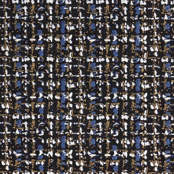 Scuba élégant imprimé feuille motif à carreaux – bleu acier/argent