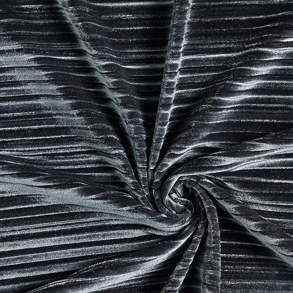 Velours stretch Plissé – anthracite