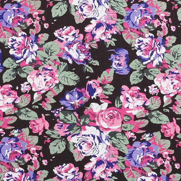 Jersey viscose Roses – noir/rose vif