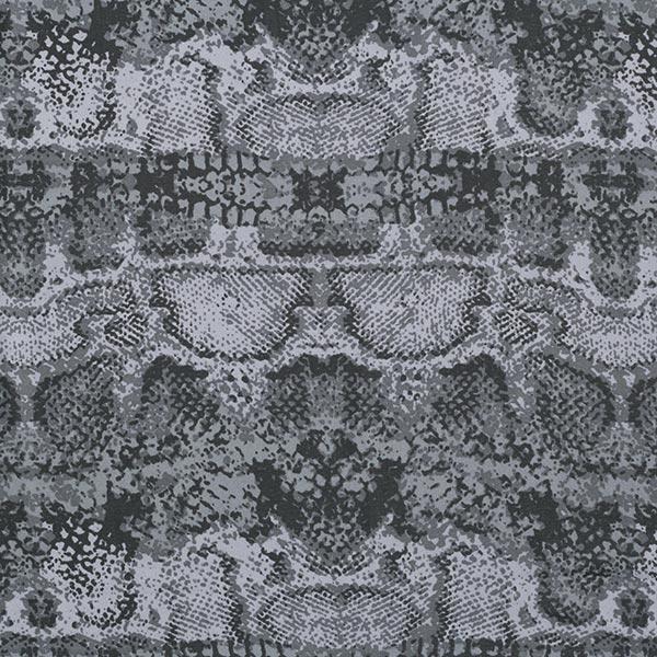 Chiffon de soie Imprimé serpent – gris bleu/noir
