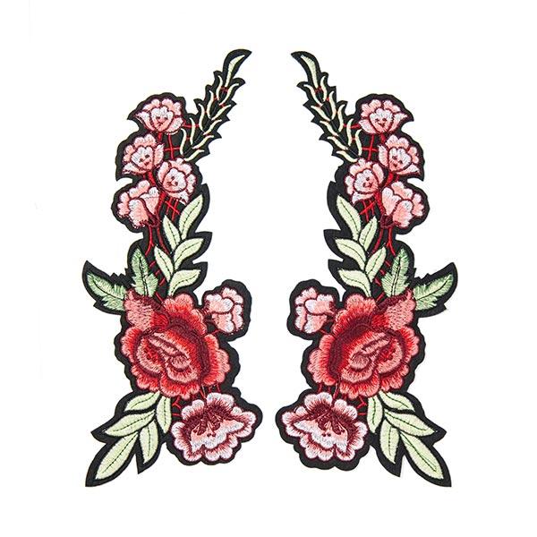 Patchs Rinceaux de fleurs (10,5 x 22,8 cm) – rouge