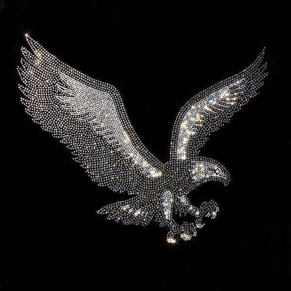 Patch Aigle en strass thermocollant (34 x 28 cm)