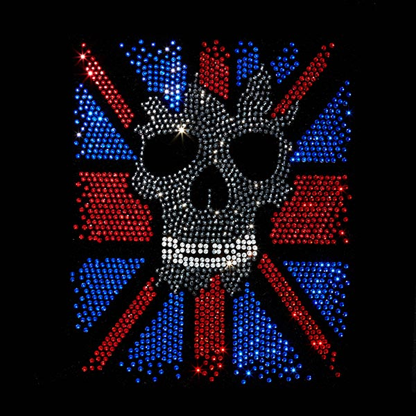 Patch Tête de mort UK en strass thermocollant
