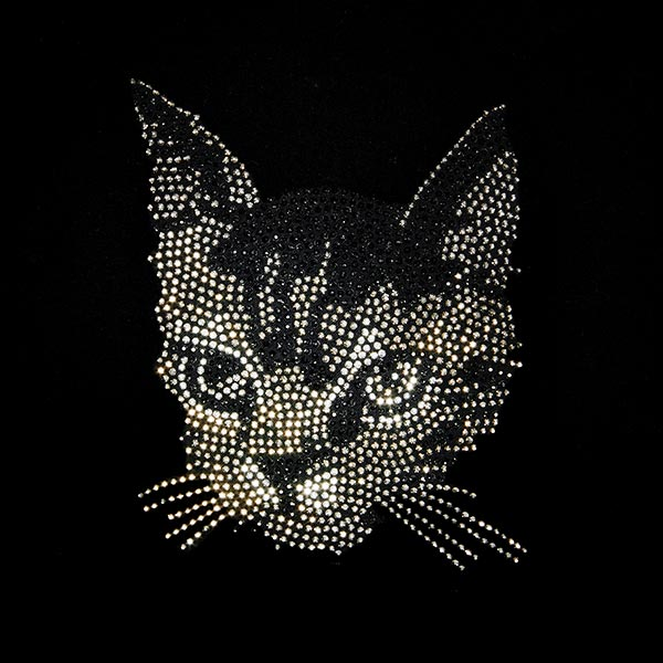 Patch Chat en strass thermocollant (12 x 14,3 cm)