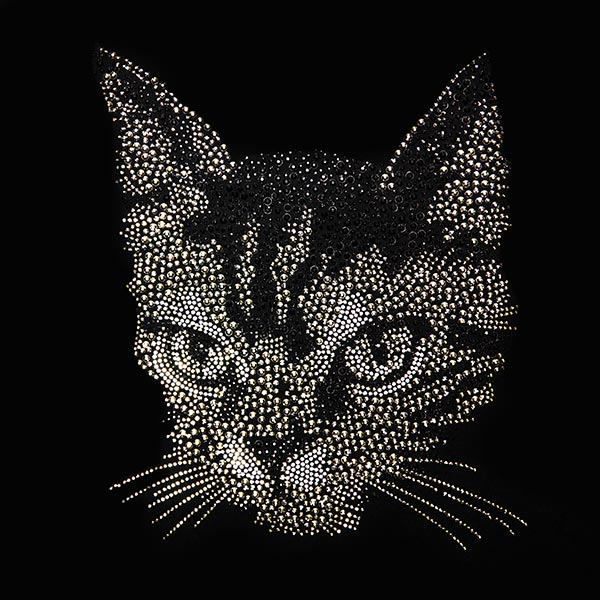 Patch Chat en strass thermocollant (21,5 x 27 cm)