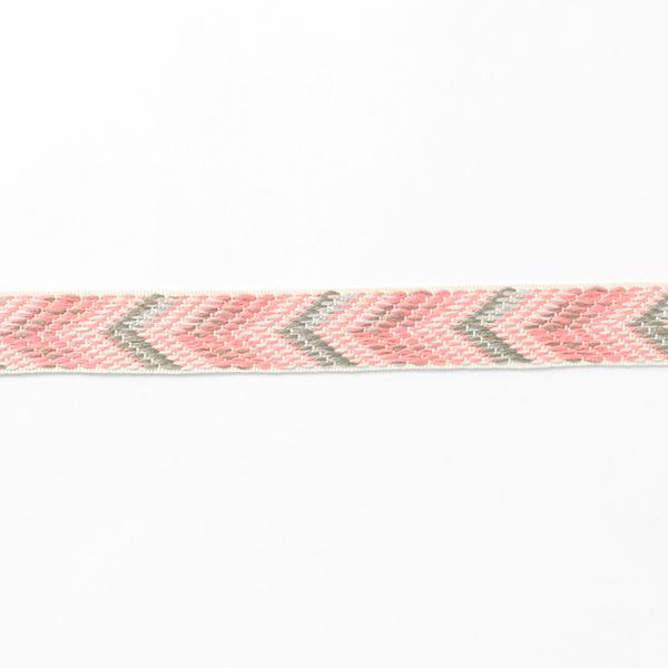 Ruban tissé Chevron [24 mm] – rose néon/gris