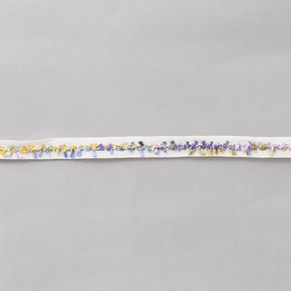 Ruban de reps Franges [15 mm] – blanc/lilas