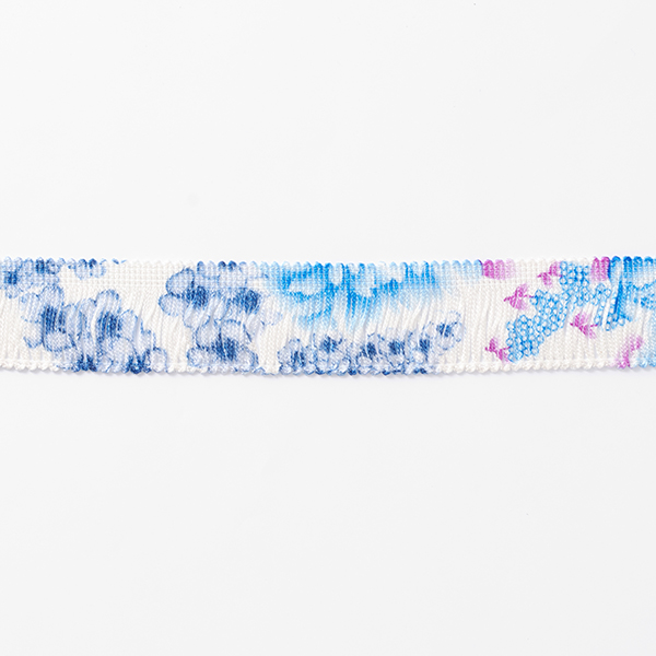 Ruban à franges Fleurs [30 mm] – blanc/bleu