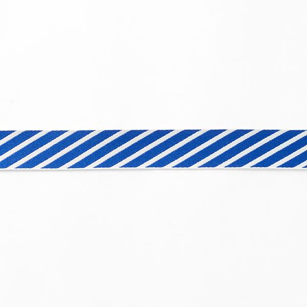 Ruban tissé Rayures [25 mm] – bleu/blanc