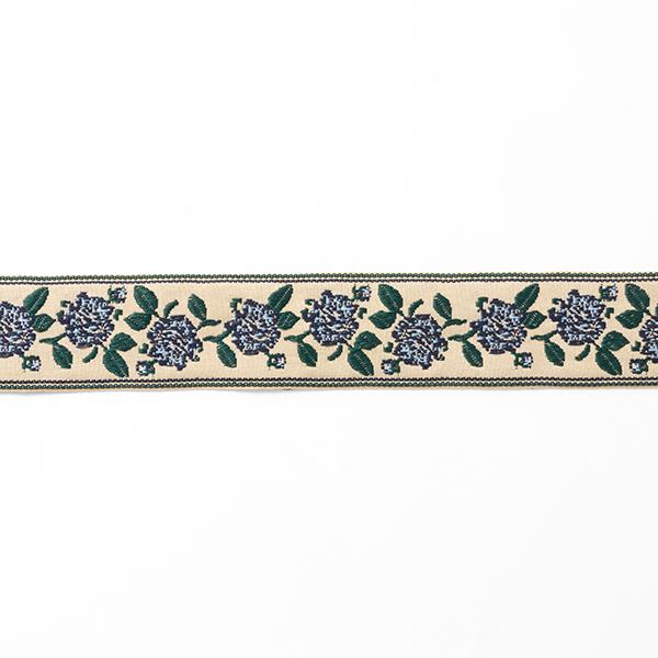 Ruban tissé Fleurs [40 mm] – beige/vert foncé