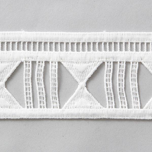 Ruban dentelle  Broderie à trous [55 mm] – blanc