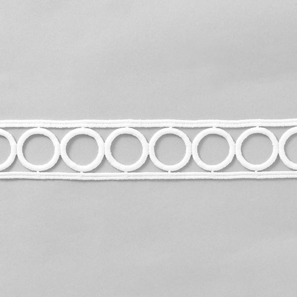 Ruban dentelle Dentelle brodée [37 mm] – blanc
