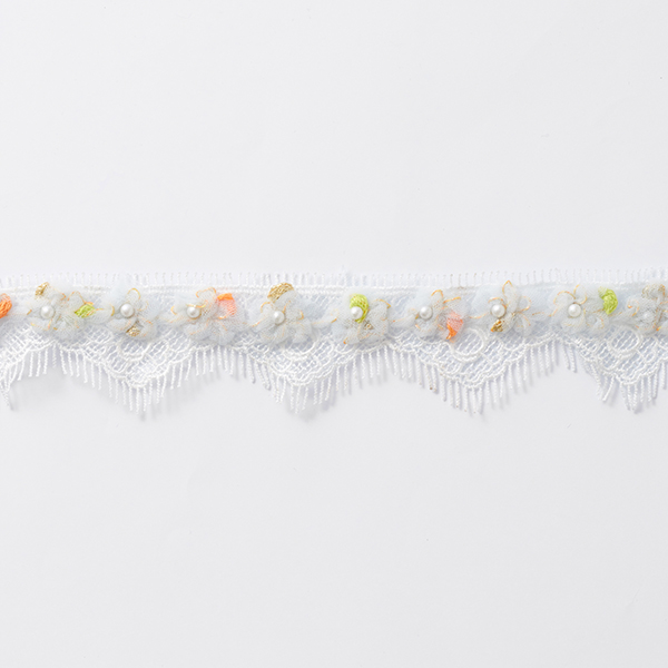 Ruban dentelle Fleurs en tulle [30 mm] – blanc