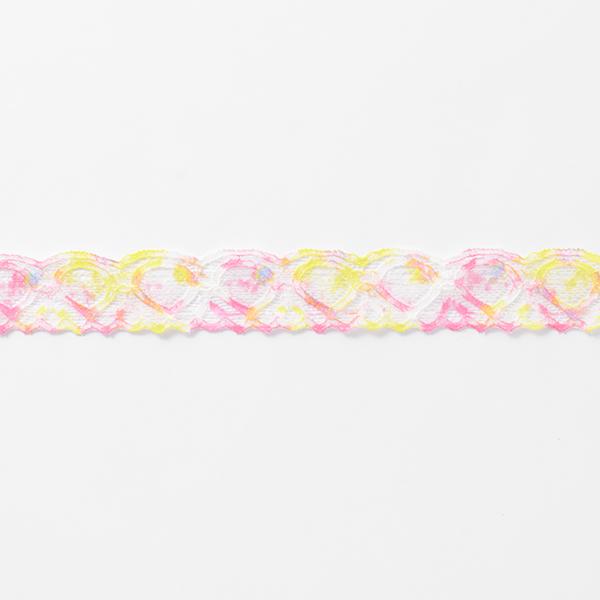 Ruban dentelle élastique Cœurs [25 mm] – blanc/rose vif