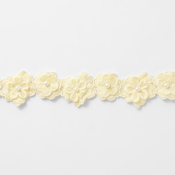 Ruban à fleurs brodées [45 mm] – jaune clair