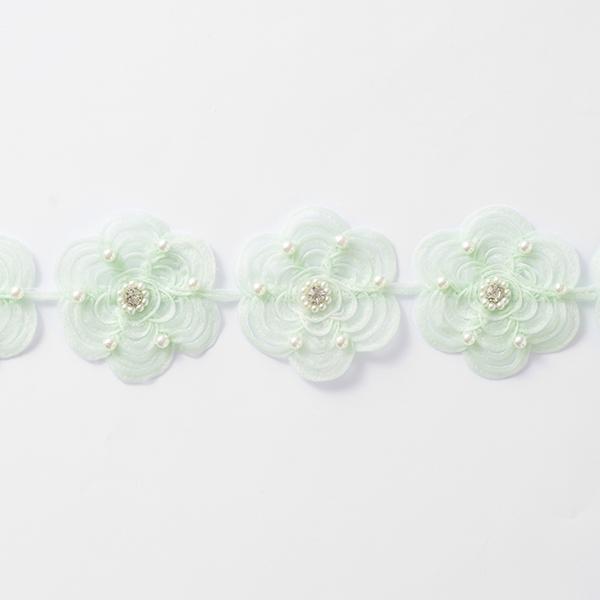Organzaband Blumen [60 mm] – mintgrün