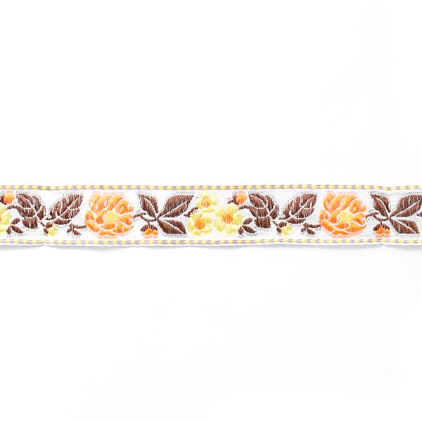 Ruban tissé Rinceau de fleurs [32 mm] – blanc/orange