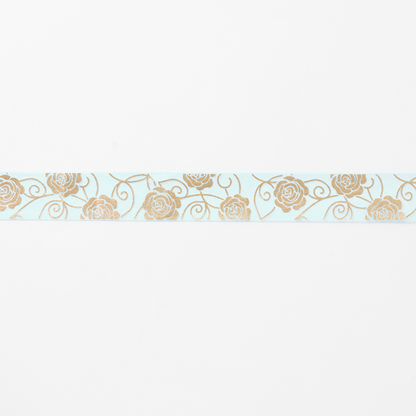 Ruban organza Roses [25 mm] – vert menthe/or