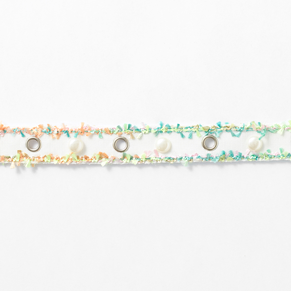 Webband Ösen und Perlen [25 mm] – weiss/neongrün